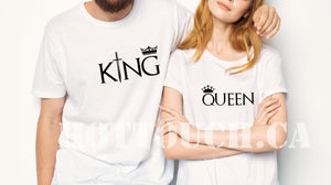 King Queen tshirts,Couple tshirts,Custom couple tshirts,His and hers tshirts,Crown shirts,Hubby shirt,Wifey shirt,Tshirt for couples, CP-15