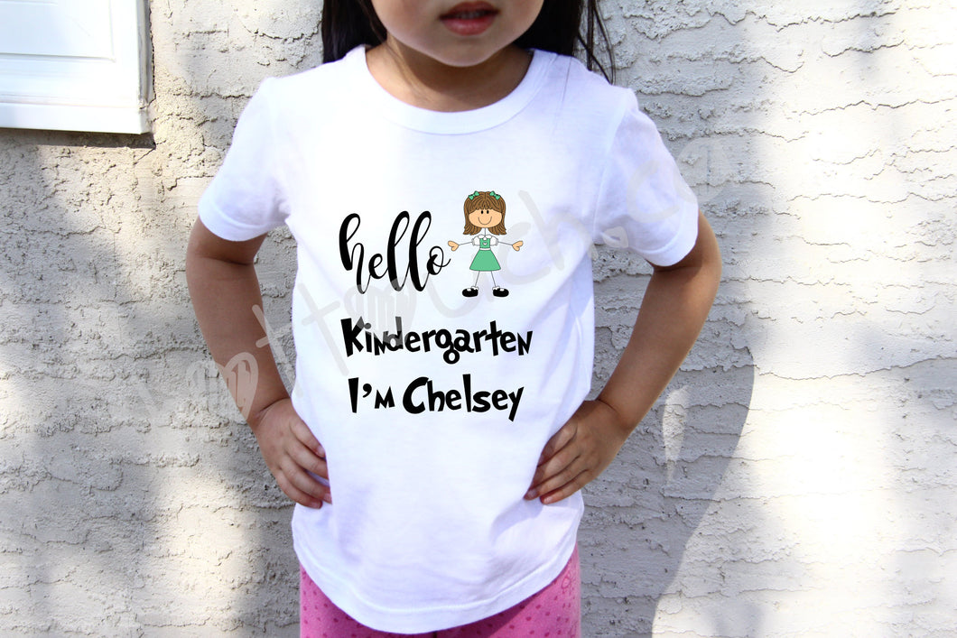 Hello Kindergarten shirt,First day of school,Kindergartener TEE,Back to school shirt,Announcement Kindergarten tee,kindergarten tee KD-SCL-2