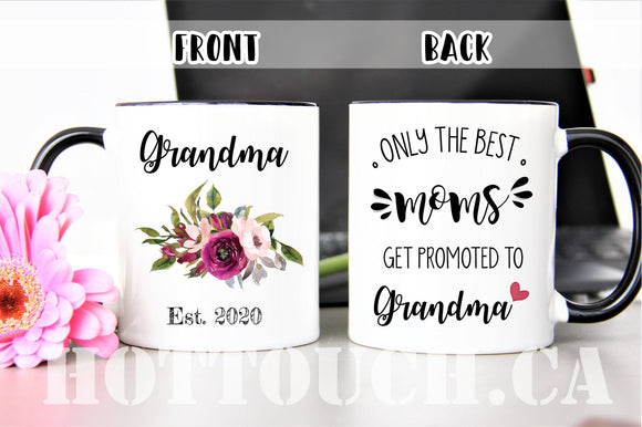 Only the best Moms get promoted to Grandma,Grandma mug,New Grandma gift,Pregnancy reveal to Mom,Baby announcement mug,Grandma to be FM-GM-4