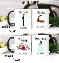 Load image into Gallery viewer, bride and groom mug set,wedding couple mugs,wedding mug,wedding gift,gift for the bride and groom,Hubby Wifey,Mr and Mrs mug set,anniversary