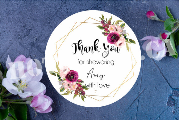 Bridal shower stickers,Thank you bridal shower stickers,Custom Wedding labels,Wedding thank you labels,Floral,Wedding planning label WD-BS-1
