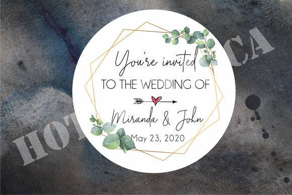 Wedding invitation stickers,Wedding envelope stickers,Greenery wedding sticker,Personalized wedding label,eucalyptus sticker,leaves WD-BG-24