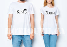 Load image into Gallery viewer, King Queen tshirts,Couple tshirts,Custom couple tshirts,His and hers tshirts,Crown shirts,Hubby shirt,Wifey shirt,Tshirt for couples, CP-15
