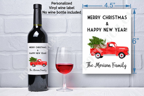Christmas wine label,Personalized wine labels,Holiday wine label,Wine hostess gift,teacher gift,christmas label,secret santa gift XS-FR-T0-2