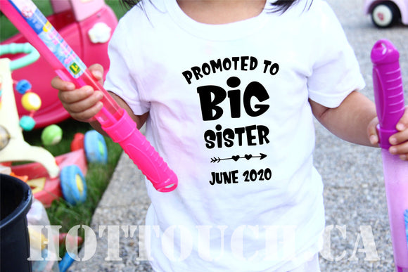 Promoted to big sister tshirt,Pregnancy announcement,baby reveal,baby announcement tshirt,future big sister,Toddler tshirts,baby tee FM-BR-2