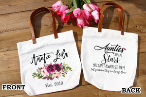 Auntie gifts,Auntie to be,Aunt gift,Baby Reveal sister,Pregnancy Reveal,Baby Announcement aunt,New Auntie,Personalized tote bag FM-AU-6