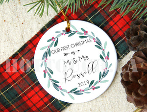 Our first Christmas as Mr and Mrs,Personalized Christmas ornaments,New couple,Christmas decor, 2020 Christmas Ornaments XS-FRS-1