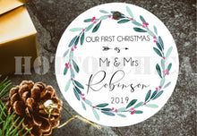 Load image into Gallery viewer, Our first Christmas as Mr and Mrs,Personalized Christmas ornaments,New couple,Christmas decor, 2020 Christmas Ornaments XS-FRS-1