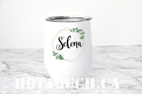 Personalized wine tumbler,Personalized wine cup,bridesmaid gift,bff gifts,bridal shower gift,calligraphy design,stemless steel wine cup NM-7