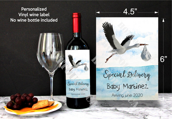 Custom wine label,Pregnancy announcement,Stork carrying baby,baby reveal gift,Wine bottle label,Special Delivery,baby announcement BB-STK-1