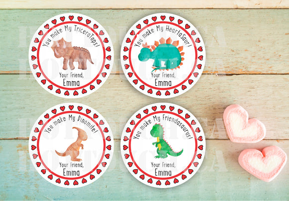 Valentine's Day Stickers,Personalized Valentine Stickers,Valentine Favor Stickers,Dino stickers,Valentine Favor Stickers for Treat Bags VL-9