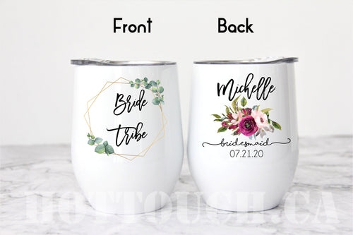 Bridesmaid mug,Bride tribe mug,Wine tumbler,Bridesmaid gift,Bridesmaid Proposal gift,Maid of Honor,bridal gift,Bride Tribe,wedding WD-BM-003