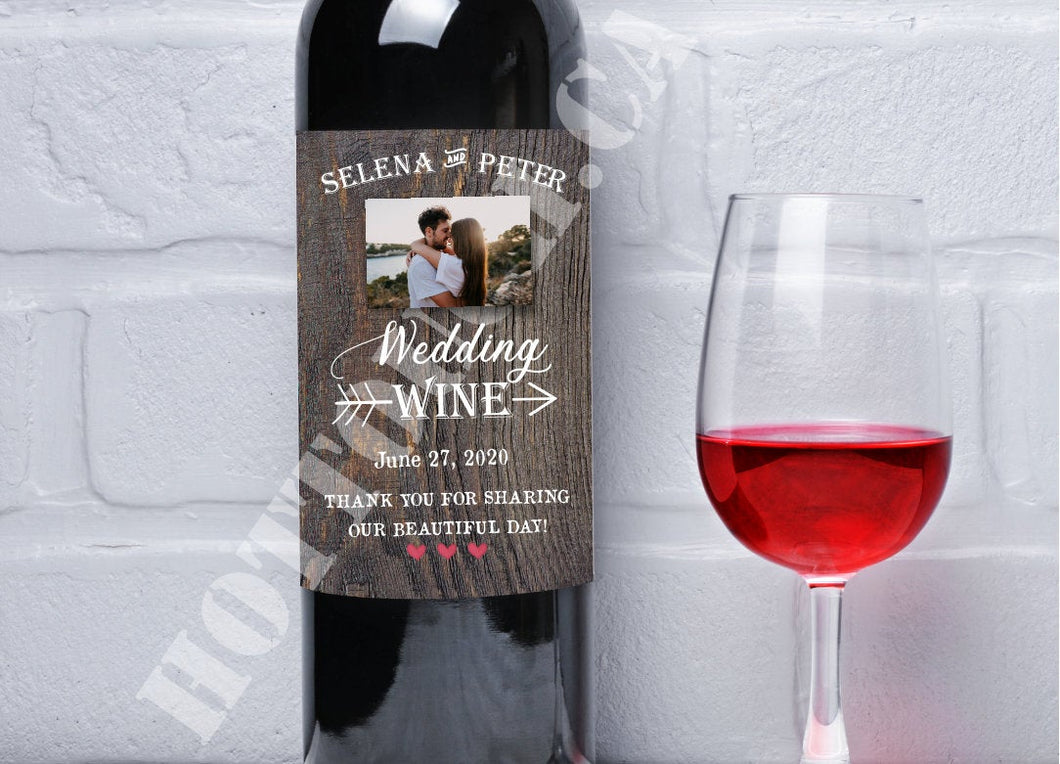 Wine bottle label,Rustic wedding wine Label,Photo Wine label,Wedding photo,Custom wine label,Rustic wedding,wine sticker,wine gift WD-WINE-3