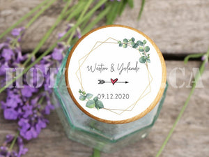 Greenery Wedding Stickers,Wedding Favor Labels,Wedding Favor Stickers,Eucalytus Wedding Favor,Wedding Favors Gold,Rustic wedding WD-BG-25