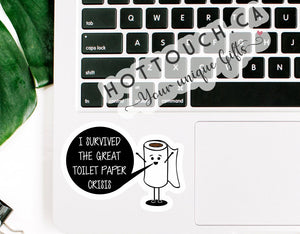 Toilet paper sticker,I survived the toilet paper crisis,Virus meme sticker,Funny toilet sticker,phone decal,laptop decal,labels FY-ME-4