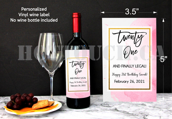 Twenty One wine label,Birthday wine label,Custom your label,wine labels,personalized wine label,wine lover gifts,wine gift,custom label BD-9