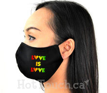 Load image into Gallery viewer, Love is love, Fabric face mask, Pride LGBTQ, Handmade Fitted Mask Style, quick production time and ships from Alberta Canada PRD-1