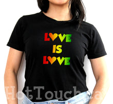 Load image into Gallery viewer, Love is Love tshirt, LGBT tshirt, Pride shirt, Pride rainbow outfit, Gays, Pride, 100% cotton soft stretch tshirt PRD-1