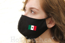 Load image into Gallery viewer, Mexican flag, Fabric face mask, Mexican, cotton face Mask, 100% cotton, quick production time and ships from Alberta Canada