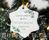 Personalized First Christmas at Address New Home,Botanic Ceramic Ornament,Our First Christmas,New couple, 2020 Christmas Ornaments XS-FR-3