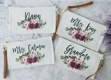 Load image into Gallery viewer, Makeup bag,Monogram cosmetic bag,Eucalyptus Makeup bag,Eucalyptus wedding,Personalized Pouch,girly makeup bag,gift for her,wedding NM-FL-3