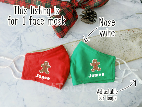 Christmas face mask, Ginger bread face mask, Custom Face mask Christmas, Holiday decor, Christmas gift, Nose Wire, adjustable ear loops