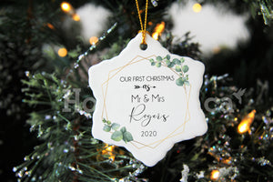 Our First Christmas as Mr and Mrs Ornament,Botanic Ceramic,New couple,2020 Christmas Ornaments XS-FRS-2