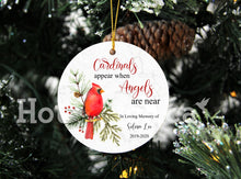 Load image into Gallery viewer, Memorial Ornament,Memorial gifts, Cardinals Appear When Angels are Near, Remembrance gift, sympathy, ornament 2020 XS-MEMO-2