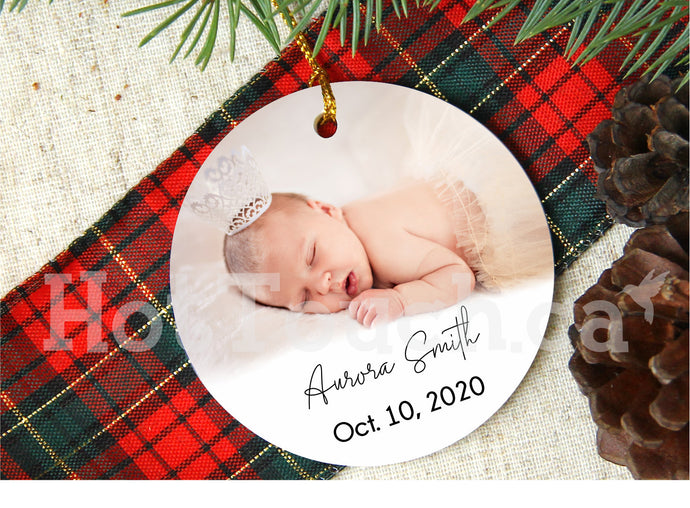 Baby First Christmas ornaments,Baby birth date Photo Ornament,Personalized,custom,Porcelain,2020 Christmas Ornaments XS-BB-2