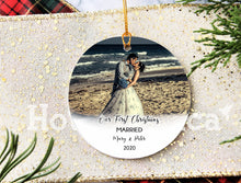 Load image into Gallery viewer, Our First Christmas Married ornament,Personalized Christmas ornaments, Mr Mrs ornament, home decor, christmas decor, wedding gift XS-FRS-9
