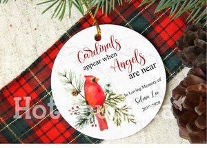 Memorial Ornament,Memorial gifts, Cardinals Appear When Angels are Near, Remembrance gift, sympathy, ornament 2020 XS-MEMO-2