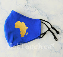 Load image into Gallery viewer, Africa Fabric Face Mask, African Map, Handmade Fitted Style, reusable cotton face mask, Gold face mask