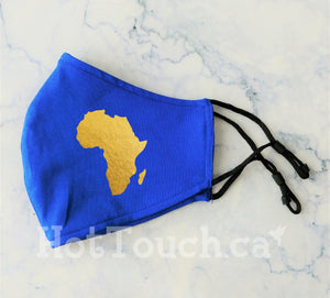 Africa Fabric Face Mask, African Map, Handmade Fitted Style, reusable cotton face mask, Gold face mask