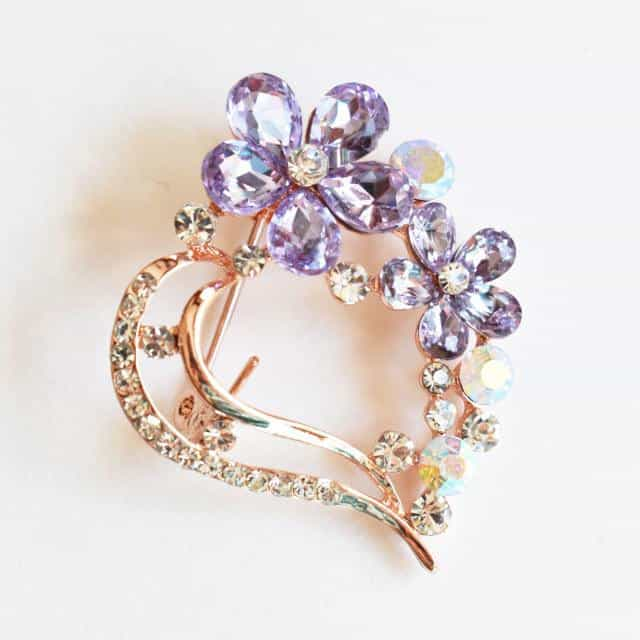 Brooch - Amethyst Lavender, Flower Brooch, Metal Alloy, Rose-Gold Plating, Czech Rhinestone, Jamagrasha Custom Item