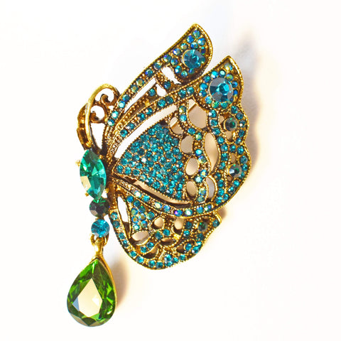 "Brooch - ""Antique Gold"" Butterfly, Green & Blue Rhinestone Brooch"