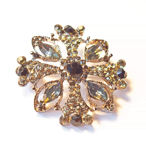 Brooch - Black Diamond, Rhinestone Brooch