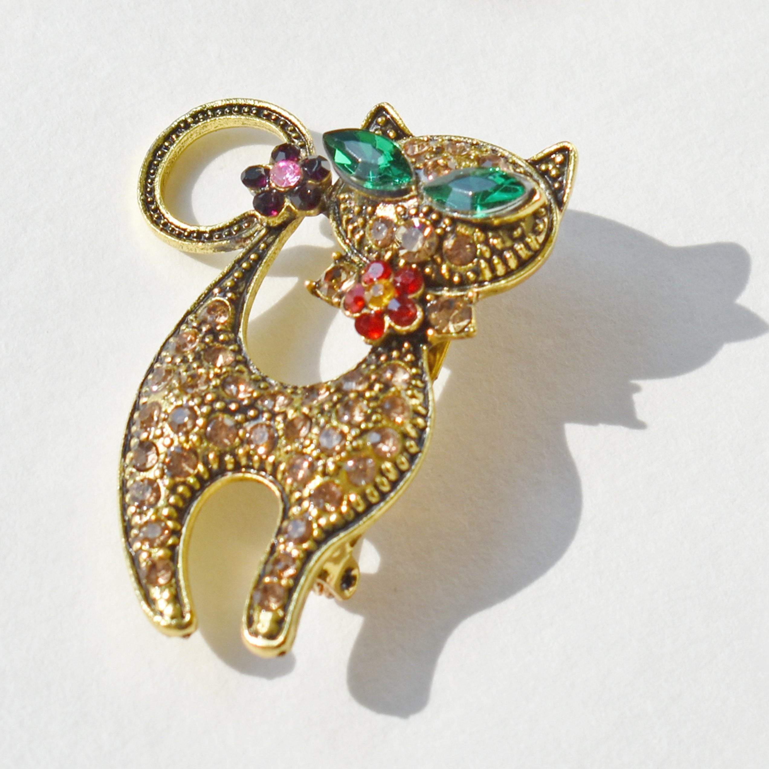 Brooch - Cute Gold Cat Brooch