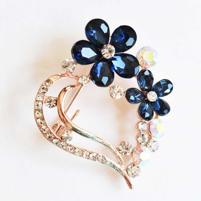 Brooch - Dark Sapphire Blue, Flower Brooch, Metal Alloy, Rose-Gold Plating, Czech Rhinestone