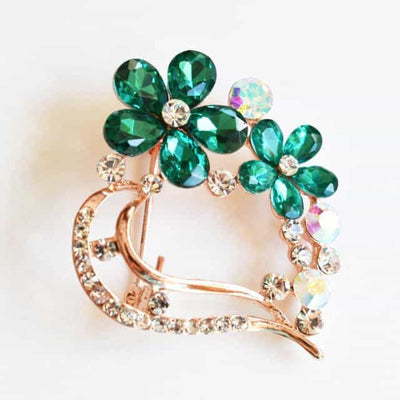 Brooch - Emerald Green, Flower Brooch, Metal Alloy, Rose-Gold Plating, Czech Rhinestone, Jamagrasha Custom Item
