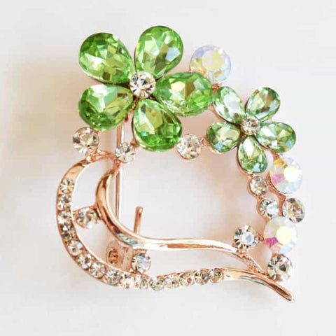 Brooch - Light Green, Flower Brooch, Metal Alloy, Rose-Gold Plating, Czech Rhinestone, Jamagrasha Custom Item
