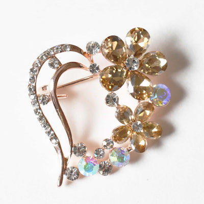 Brooch - Light Topaz, Flower Brooch, Metal Alloy, Rose-Gold Plating, Czech Rhinestone, Jamagrasha Custom Item