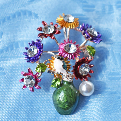 Brooch - Multicolor Flowers In A Vase  Brooch