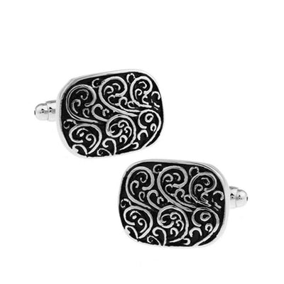 Cufflink - TOMYE Classic Black, Roman Pattern, Business French Shirt Cufflinks, Men