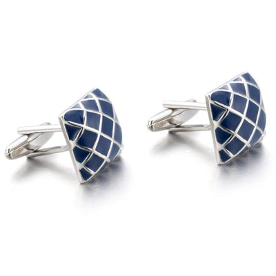 Cufflink - TOMYE Dark Blue Enamel Square, Diamond Patterned, Unique Cuflinks, Men