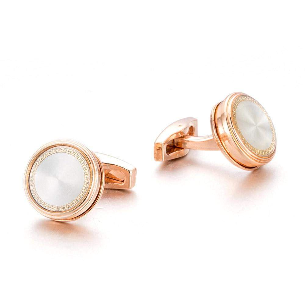 Cufflink - TOMYE High Quality Rose Gold Color With White Satin Center, Pure Copper Cufflink, Men