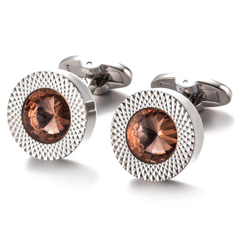 Cufflink - TOMYE Luxurious Round, Brown Zircon Crystal, Silver-Plated, Copper Cufflinks, Men