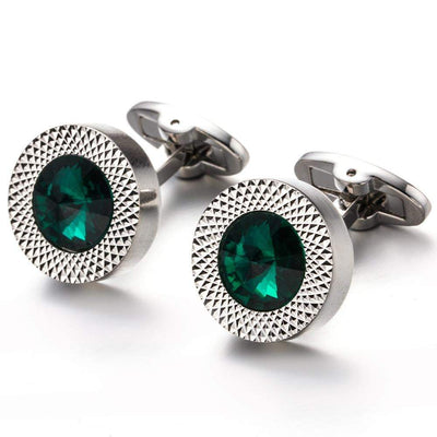 Cufflink - TOMYE Luxurious Round, Green Zircon Crystal, Silver-Plated,  Copper Cufflinks, Men