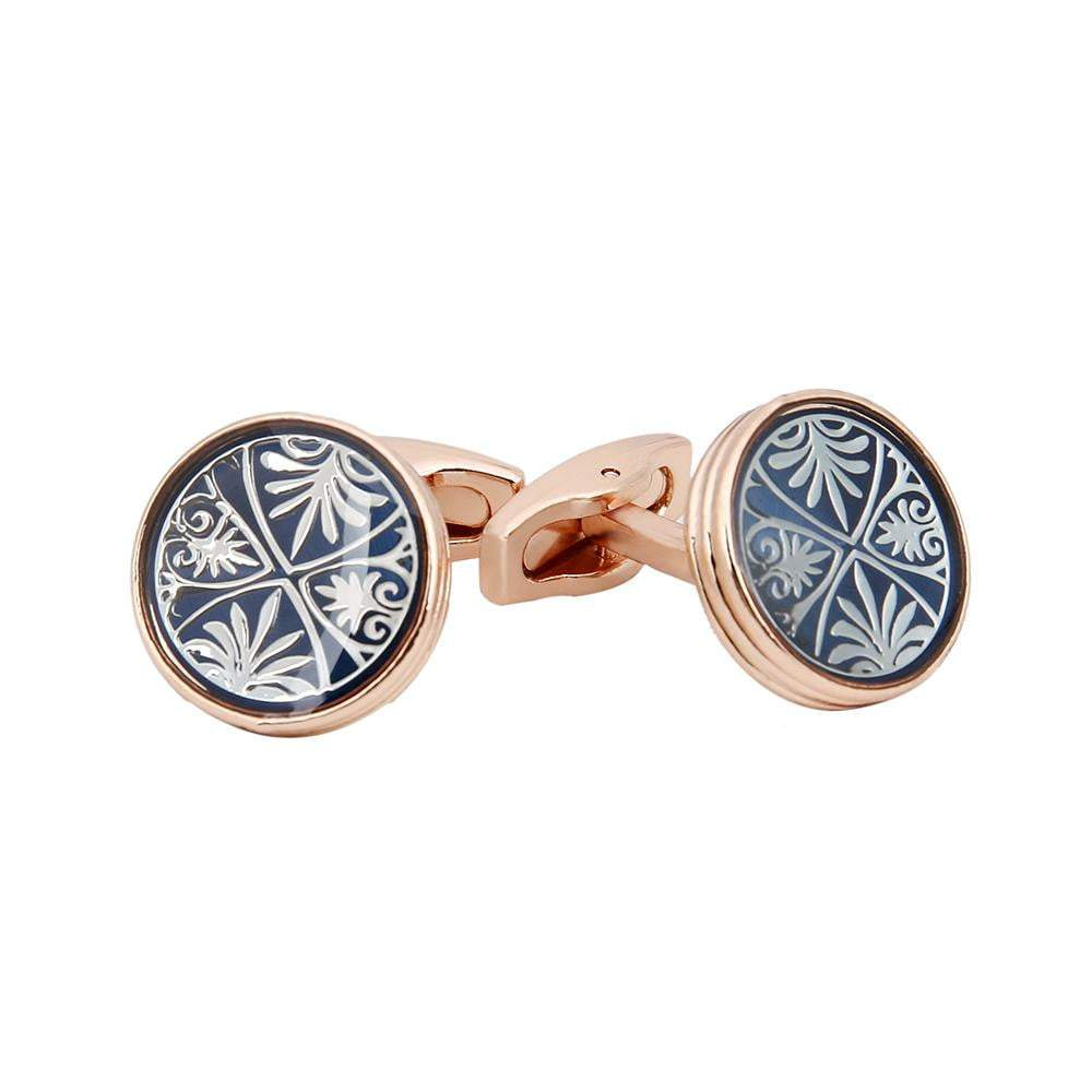 Cufflink - TOMYE Rose-Gold Color, Dark Blue  Round, Silver Leaves, Copper Cufflinks, Men
