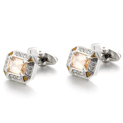"Cufflink - TOMYE Stylish, Rectangular Mosaic, ""Light Topaz"" Cubic Zirconium, Cufflinks, Men"