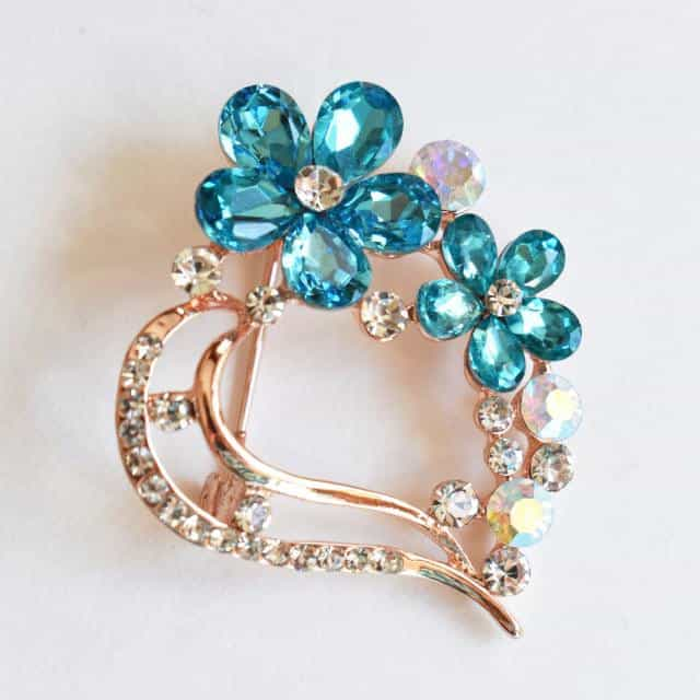 Deep Sky Blue, Flower Brooch, Metal Alloy, Rose-Gold Plating, Czech Rhinestone, Jamagrasha Custom Item
